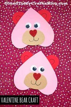 Valentines Day Crafts For Preschoolers, Toddler Valentine Crafts, Valentines Day Cards Handmade, Valentine's Day Crafts For Kids, Bear Valentines, Valentines Day Activities, Valentines For Kids, Preschool Crafts, Homemade Valentine Cards