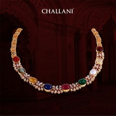 Nonchalance Navratan Necklace studded with pear shaped diamonds from house of Challani Jewellery Mart, T. For more details please call our customer care number at + Approximate Weight Gold: Grams Diamond: CTS Navaratna Stones : Gold Bangles Design, Gold Jewellery Design, Bead Jewellery, Diamond Jewellery, Jewelery, Gold Necklace Simple, Gold Jewelry Simple, Bridal Jewellery Inspiration, Bridal Jewelry