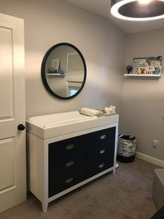 Brilliant Changing Table Storage Ideas - Our Bright Side Grey Walls And Carpet, Changing Table Storage, Project Nursery, Nursery Ideas, Long Term Storage, Blue Colour Palette, Baby Boy Nurseries, Cool Things To Make, Storage Spaces