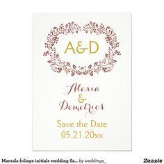 Marsala foliage initials wedding Save the Date 4.5x6.25 Paper Invitation Card
