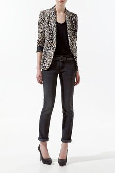 Tailored Collar Long Sleeve Leopard Pattern Blazer, #Wendybox