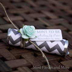 "Items similar to 24 Mint Wedding Favors with Personalized ""Mint to be"" tag - set of 24 favors, chevron, grey, mint green on Etsy Wedding Gift Cutlery, Wedding Favours, Wedding Gifts, Party Favors, Party Gifts, Wedding Wishes, Our Wedding, Dream Wedding, Fish Wedding"