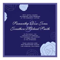 Rose Wedding Invitation - Blue Flowers