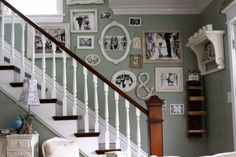 Decorating: color scheme, white, gray-green, & brown; picture collage, open frames, shelving...so many beautiful things