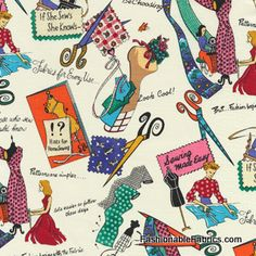Fabric... If She Sews She Knows by Micheal Miller Fabrics