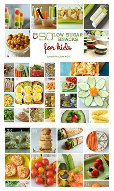 50 Low Sugar Snacks for Kids - This list is awesome! I check it all the time for a go-to snack. Most of them have ZERO grams of sugar! http://www.superhealthykids.com/50-low-sugar-snacks-for-kids/
