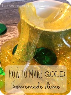How to Make Homemade Slime - Shiny Gold - Blessed Beyond A Doubt Spring Activities, Fun Activities For Kids, Sensory Activities, Worksheets For Kids, Learning Activities, Sensory Play, Homemade Slime, Diy Slime, How To Make Homemade