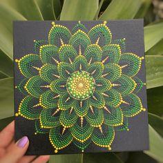 Excited to share this item from my shop: Golden-Green Floral Dot mandala Mandala Canvas, Mandala Artwork, Mandala Painting, Mandala Drawing, Mandala Rocks, Flower Mandala, Coin D'art, Mandala Art Lesson, Art Corner