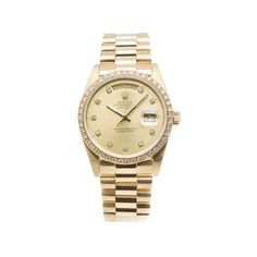 Pre-owned Rolex Watch ($12,932) ❤ liked on Polyvore featuring jewelry, watches, apparel & accessories, white, bezel bracelet, white bracelet, white watches, crown bracelet and preowned watches