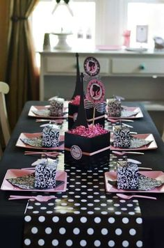 Sweet Festivity's Birthday / French / Parisian - Photo Gallery at Catch My Party Parisian Birthday Party, Barbie Birthday Party, Barbie Party, 6th Birthday Parties, 10th Birthday, Guitar Party, Barbie Theme, Party Themes, Party Ideas