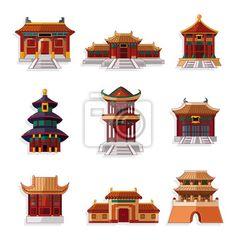 Fotomural dibujos animados chinos casa icon set.