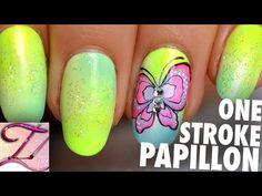 Tuto nail art papillon one stroke fluo facile pour l'été - YouTube