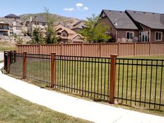 Using Trex Posts with Ornamental Fencing - Trex Fencing, the Composite Alternative to Wood & Vinyl Fence Landscaping, Backyard Fences, Fenced In Yard, Fenced In Backyard Ideas, Diy Fence, Fence Ideas, Concrete Patios, Trex Fencing, Fence Gate Design