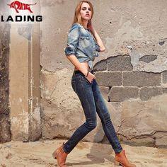 New winter skull embroidered skinny thin pencil pants female European leg jeans