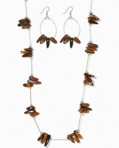 charming charlie | Tiger's Eye Stone Station Necklace Set | UPC: 450900435448 #charmingcharlie