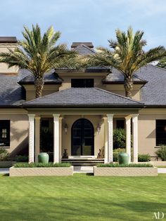 """In Tallahassee, architect Bradley C. Touchstone equipped Motocross champion Ricky Carmichael's """"Florida Mediterranean"""" home on Lake Hall in with copper rain chains and Thai rain jars for water catchment. Tropical Beach Houses, Tropical Home Decor, Tropical Style, Mediterranean Homes Exterior, Mediterranean Decor, Exterior Homes, Mediterranean Architecture, Architectural Digest, Permanent Vacation"""