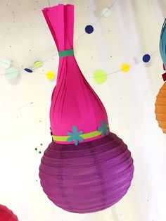 DIY Trolls paper lanterns tutorial! Perfect for your Trolls birthday party. Bash Parties