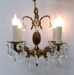 Small Brass Crystal Chandelier Petite Crystal Chandelier Pineapple Crystal Four Light Plug In Switch Portable Chandelier Lighting DD 1226 by donDiLights on Etsy