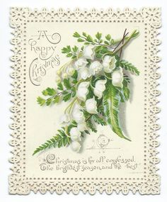 VICTORIAN CHRISTMAS CARD, LILY OF THE VALLEY & FERNS, c.1890 | eBay