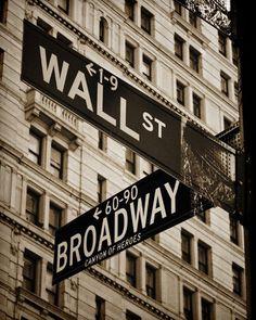 Wall Street & Broadway 16x24, New York, NYC, Sepia, Duotone, City, Urban, Finance, NY, Money, Photography, Photograph, Photo, Fine Art. $44.99, via Etsy.