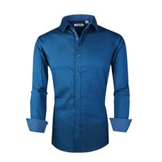 Generic Mens Suit Fit Long Sleeve Button Down Dress Shirts Solid Tops