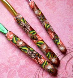 Crochet Hook Polymer Clay Floral Covered Bates Set of by NKDesigns, $22.00