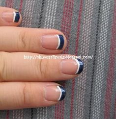 Navy Blue White Stripe French Manicure: And perhaps I'll do this for my nails for the 4th. :)