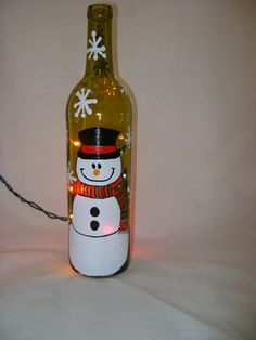 Hand Painted Recycled Wine Bottle With Snowman And Lights