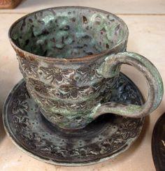 Beekeeper Mug in Matt Green.  Check out the interior texture. Mark Strayer, North Star Pottery