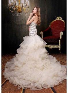 Tulle Strapless Neckline Beaded Bodice Mermaid Style with Lavish Ruffle Skirt and Chapel Train Wedding Dress