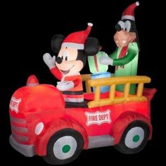 tall disney christmas mickey mouse goofy fire dept truck airblown inflatable by gemmy outdoor scene - Disney Inflatable Christmas Decorations