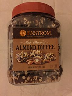 Delicious toffee dipped in milk chocolate covered with crushed almonds by Enstrom. Toffee Dip, Almond Toffee, Healthy Mixed Drinks, Chocolate Desserts, Chocolate Covered, Milk, Candy, Costco, Eat