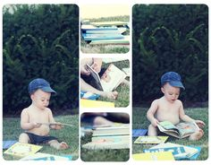 baby photoshoot with books