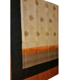 Cream Banarasi Handloom Silk Linen Saree