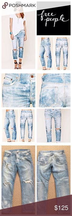 """Free People NSF Destroyed Slouchy Jeans.  NWOT. Free People NSF Destroyed Slouchy Straight Jeans, 100% cotton, machine washable, 30"""" waist, 9"""" front rise, 13"""" back rise, 27"""" inseam, 13.5"""" leg opening, distressed and ruffled boyfriend jeans with destroyed holes, fading discoloration throughout, slouchy, slightly oversized fit, we love them cuffed at bottom, copper-tone hardware, five pockets, zip fly button closure, black line drawn through label to prevent return to store, measurements are…"""