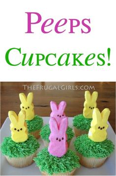 How to Make Oh-So-Cute Peeps Cupcakes! ~ from TheFrugalGirls.com ~ the perfect easy Easter party cupcake dessert! #recipe #recipes #thefrugalgirls