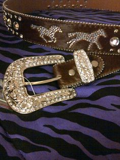 Horsin' around rhinestone belt, hide on hair, LOVE the AB rhinestones! $55    www.facebook.com/blingcowgirlbling  www.pacowgirlbling.weebly.com