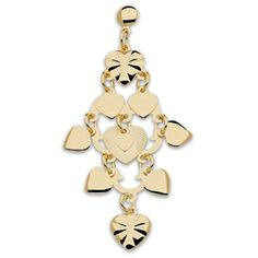Pendientes candelabro - G26643 20,00€  Pendientes largos corazones, gold filled. Dimensiones: longitud 6,2cm, 21,2mm en su parte mas ancha, peso 2,2gr.