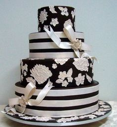 Challenging Myself I was watching Ron Ben Isreal on Sugar Rush a few weeks ago and decided to challenge myself by making a dummy cake with. Black White Cakes, Black And White Wedding Cake, Black Wedding Cakes, Beautiful Wedding Cakes, Beautiful Cakes, Amazing Cakes, Cake Wedding, Dream Wedding, Wedding Dress