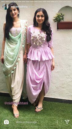 Bottom designs with peplum top Dress Indian Style, Indian Dresses, Indian Outfits, Stylish Dresses, Casual Dresses, Fashion Dresses, Indian Designer Outfits, Designer Dresses, Choli Dress