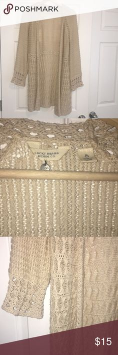 LAST CHANCE🔴 Lucky Brand Spring Cardigan Lucky Brand Spring Cardigan Small Beige in color Lightweight perfect for spring and summer 🌸 Lucky Brand Tops