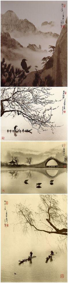 Asian Art, Landscapes, Traditional, Ink & Wartercolor