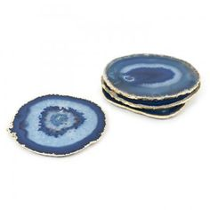 Johnathan Adler- blue and gold agate coasters