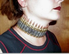 Click Image Above To Purchase: Real Bullet Choker - Made From Real Bullets Chokers, Bullets, Troops, Image, Jewelry, Jewlery, Jewerly, Schmuck, Bullet