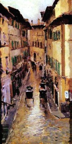 Konstantin Korovin    A Florence Street In The Rain, 1888, oil on canvas, The Tretyakov Gallery, Moscow, Russia.    Konstantin Korovin was a leading Russian Impressionist painter. Many of Korovin's works were strongly influenced by his travels around Europe and Russia. In fact, in 1888 Korovin traveled to Italy and Spain, where he produced a number of famous paintings.