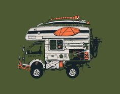 """We are honored to feature Adam Haynes and his """"Howler Camper"""" for this Artist Series T-shirt. Adam's artistic style is bold and layered, creating place. 4x4, Camper, Monster Trucks, Tees, Artist, T Shirt, Outdoor, Gentleman, Design"""
