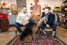 Andrew Soernsen and Mark Morris know how to drive foot traffic into a shop on a street full of cool shops: Let an adorable dog sleep in the window. Yes, their store, Aggregate Supply, has been on our radar for years, but it was a chance encounter with Oscar the Airedale Terrier that prompted our photo shoot.