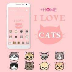 """I Love Cats""  Turn all your icons into cute kitty cats with this adorable theme! Download Now:http://bit.ly/2ge8mDy #cute #wallpaper #love #cat #design #icon #plushome #homescreen #widget #deco"