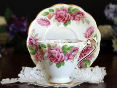 Royal Standard Teacup, Cup and Saucer, Vintage Bone China, English Tea, Pink Roses 13484
