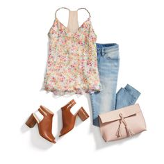 A Summer arm complementing tank with jeans & leather/chunky heel slingbacks and a leather clutch.